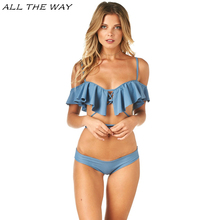 Brazilian Biquini Sexy Bandeau Bikini Flounced Beachwear 2017 Top Women Swimsuit Push Up Brand Swimwear Tanga Bathing Suit FT137(China)
