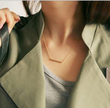 1pc Stylish Casual Punk Metal Chains Bar Geometric Gold Pendent  Necklace For Women N70
