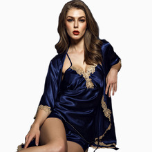 2017 summer sleeveless sleepwear sexy faux silk satin lace bathrobe women three sets of pajamas silk lounge and luxury shorts(China)