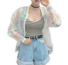2017 Harajuku Summer Women Sunproof Jacket Laser Rainbow Symphony Hologram Women BasicCoat Clear Iridescent Transparent Bomber