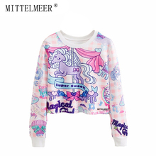 MITTELMEER New bts Harajuku printed Sweatshirt o-neck crop top Cartoon unicorn printing short Sweatshirt Hooded tops for women(China)