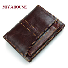 Miyahouse Male Bifold Wallets Genuine Leather Mens Short Purse Small Thin Card Holders Wallet Man Zipper Coin Purse High Quality