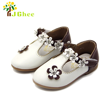 J Ghee Baby Girl Toddler Girls Shoes Princess Sweet Single Shoes Soft PU Leather Kids Flowers Flats Children's Casual Sneakers(China)