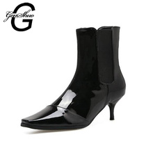 GENSHUO Women Kitten Heels Ankle Boots 2017 New Winter Patent Leather Fashion Low Heels 6CM Square Toe Boots Women Booties(China)