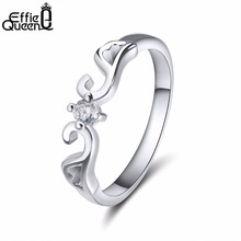 Effie Queen 2017 New Fashion Style High Quality Zircon Ring Retail & Wholesale Women Wedding Engagement Rings DR10