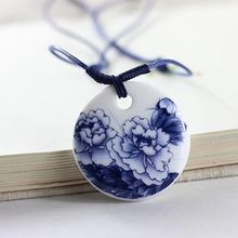 Ethnic Jewelry Traditional Handmade Ornaments Weave Wax Rope Necklace Choker Ceramics Moon Porcelain Pendant(China)