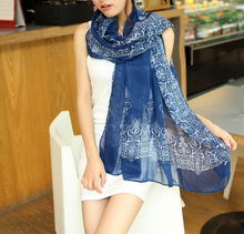 New South Korea's most popular scarf Blue and white porcelain Chiffon Women Scarfs Retro Shawls And Scarves 22005(China)