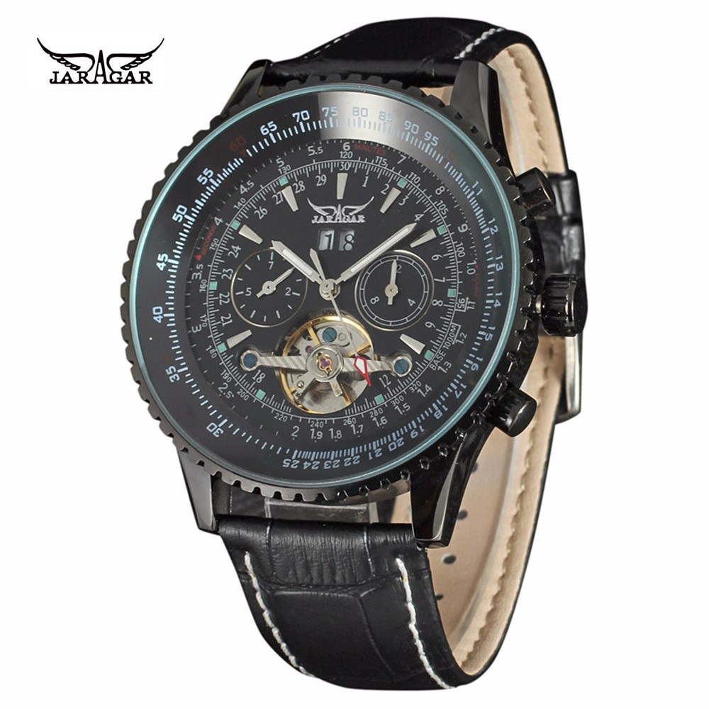 JARAGAR Top Luxury Brands Tourbillon Watch For Mens Multifunction Automatic Mechanical Leather Watch Relogio Clock Men Watch<br>