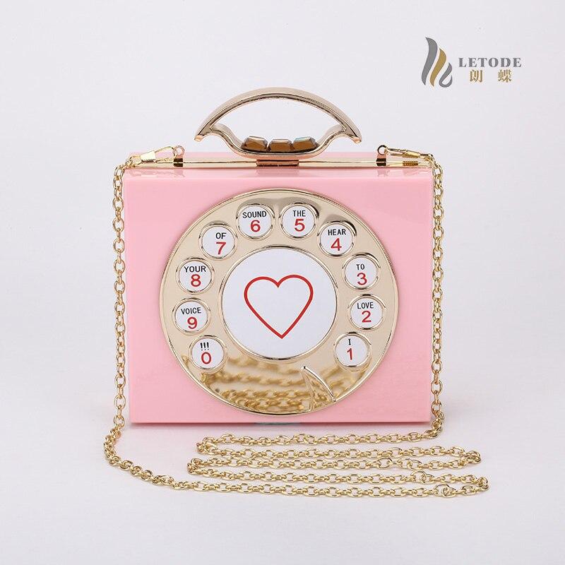 Women Clutch Evening Bag phone shaped Totes Acrylic Chain Fashion Handbags Wedding Party Shoulder Messenger Bags bolsa feminina<br>