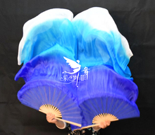 Real Silk Long Fan Veil For Belly Dance Thicker Oriental Dancing Veil Fan Right Left Hand 180cm Gradient Blue White