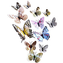 Classic retro 12x 3D Butterfly Wall Sticker Fridge Magnet Room Decor Decal Applique double layer feather butterfly drop ship