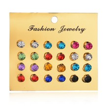 Buy Bling Earring Sets 12 Pairs / Set Mixed Color Cute Round Stud Earrings Women Fashion Jewelry Birthday Gift Wholesale for $1.22 in AliExpress store