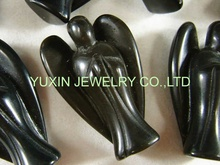 NEW !!! Fashion Natural Black Color Obsidian Angel Charms Statue Carved Angel Figurine Beads With Wing Pendant Stone Pendants(China)