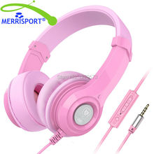 MERRISPORT Noise Canceling Headphones Headset with Mic 3.5mm Earphones and Headphones for iPhone Samsung Tablet PC Computer Pink