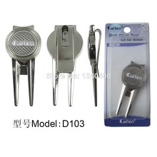 Free Shipping New Golf Divot Pivot Tool Green Repair W Magnetic Ball Marker Silver ^d1^