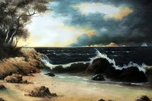 Large Seascape Painting for Living Room Wall Decorative Painting Storm Clouds Over the Coast by Martin Johnson Heade Canvas Arts