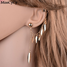 MissCyCy Gold Color Earrings For Women Bohemia Jewelry 2016 Fashion Alloy Leaves Tassel Ear Cuff Clip Earrings From India(China)