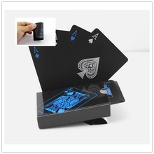 55pcs/deck Classic Poker Cards Balck Cool Waterproof PVC Plastic Playing Cards Set Poker Card Sets Magic Tricks Props Tool P5(China)