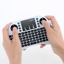 WooYi i8 Mini Wireless Keyboard 2.4GHz English Arabic Russian Hebrew QWERTY Keyboard with Touchpad For Android TV Box Laptop(China)
