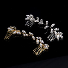 Silver Gold Color Handmade Bride Hair Jewelry Long Clear Crystal Rhinestone Prom Hair Combs Hair Accessories For Wedding