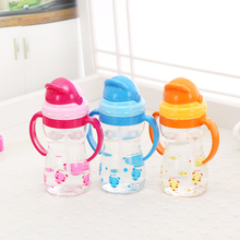 Cartoon Water Bottle Kid handgrip Baby bottle Cute Bear straw Water Bottle Children Kettle Sports Tumbler BPA Free