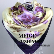 New Design Bandanas Headband Muslim Hijab Silk Square Scarf Luxury Brand For Women Big Size Floral Shawl