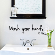 """Wash Your Hands by Mom"" Bathroom Reminder Sign Vinyl Wall Stickers Waterproof Toilet /Kitchen Lovely Wall Art Decal Decoration(China)"