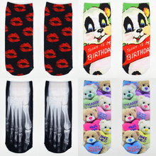 1 Pair 3D Print Photo Women Socks Cotton Harajuku Big Ben Red Lip Cellphone Funny Ladies Short Ankle Invisible Socks(China)