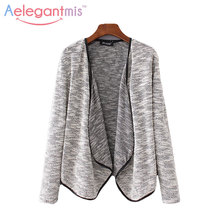 Special Offer Aelegantmis Casual Grey Cardigan Sweaters Women Spring Autumn Fashion Turn-down Collar Knitted Sweater Ladies