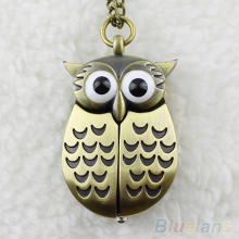 Vintage Bronze Retro Slide Smart Owl Pocket Pendant Long Necklace Watch  93U4