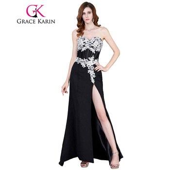 Grace karin vestidos de noche 2017 de encaje apliques de gasa blanco y negro vestidos de noche de alta hendidura piso-longitud de la boda vestido de fiesta