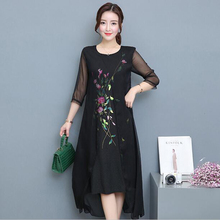 High Quality Summer New Female National Fake Two Silk Print Dress Retro Chinese Style Plus Size Women Clothing Dress Black White
