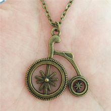 New Steampunk Unique Jewelry for Women Men Antique Bronze Punk Vintage Bike Pendant Circus Clown Cycling Show Bicycle Necklace(China)