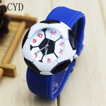 2017 Dropshipping Cute 3D Football Cartoon children watch for girls Rubber kids watches boys cheap blue Silicone Quartz WristWat