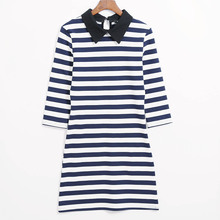 New Fashion Dress Women Stripes Striped Dresses Blue Casual Three Quarter Sleeve Notched Bodycon Skinny Dress Dressed Free Ship