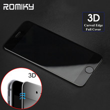 Romiky 3D Curved Edge Full Cover Premium Tempered Glass For Iphone 7 6s 6 Plus Soft Carbon Fiber 4D Red Screen Protector Film