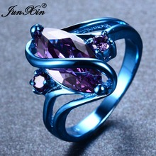 JUNXIN Latest Fashion Male Female Blue Gold Ring Purple Ring Punk American Style Vintage Party Wedding Rings