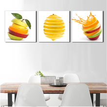 3 pieces kitchen wall pictures fruit painting print on canvas green apple and oranges cuts modern dining room decoration picture(China)