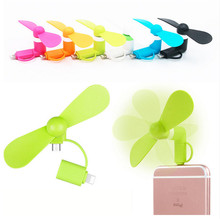 50pcs tested Mini 2 in 1 Portable Micro USB Fan For iPhone 5 6 hand Fans for Samsung HTC Android OTG Smartphones USB Gadget
