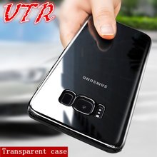 luxury Transparent cases for samsung galaxy s7 edge s8 plus A3 A5 A7 2016 2017 cover soft tpu silicon protection phone shell