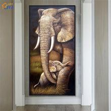 Colored Hand Painted Mother Elephant Oil Painting Canvas Wall Modern Abstract Picture Home Decor for Living Room No Framed SL123