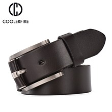 Men belt leather original Top grain leather Casual belts Black Pin buckle genuine leather belt men Cowhide strap Male CintoTM004