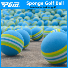 PGM Free Shipping 1pcs Rainbow Stripe FOAM Sponge Golf Balls Swing indoor Practice Training Aids Ball Light-weight wholesale