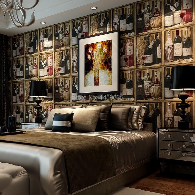 American vintage wine cellar wine bottles study personality wallpaper background wall wallpaper bedroombar wallpaper<br>