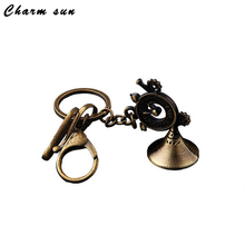Retro Metal New Gramophone Key Pendant Retro Horn Shape Key Ring Small Gifts Home Decoration Accessories Vintage Home Decor(China)