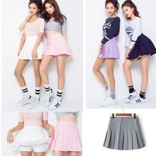 Women Lady  High Waist Plain Skater Flared Pleated Short Mini Skirt Shorts