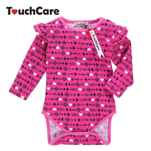 Newborn Soft Cotton Baby Boy Girl Rompers Infant Long Sleeve Arrow Printed Kids Jumpsuit Flouncing O-neck Casual Toddler Clothes(China)