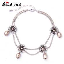 KISS ME New Double Chains Crystal Flowers Choker Necklace Simulated Pearls Pendants Jewelry Valentines Gift(China)