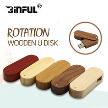 BiNFUL new style Rotate USB2.0 32gb U disk wooden&metal 8gb pendrive 16gb flash pen drive usb memory stick 64gb 128gb usb flash(China)