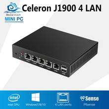 Tablet Fanless mini pc J1900 quad core 4 LAN Router Windows 7/8/10 HTPC HD Graphics TV Box VGA 4 RJ45 computer office(China)